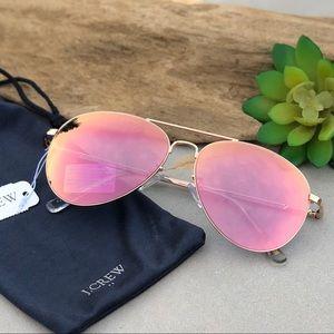 New J Crew Rose Gold Mirrored Aviator Sunglasses